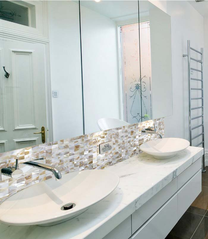 mother of pearl tile for bathroom mirrored wall sticker - st070