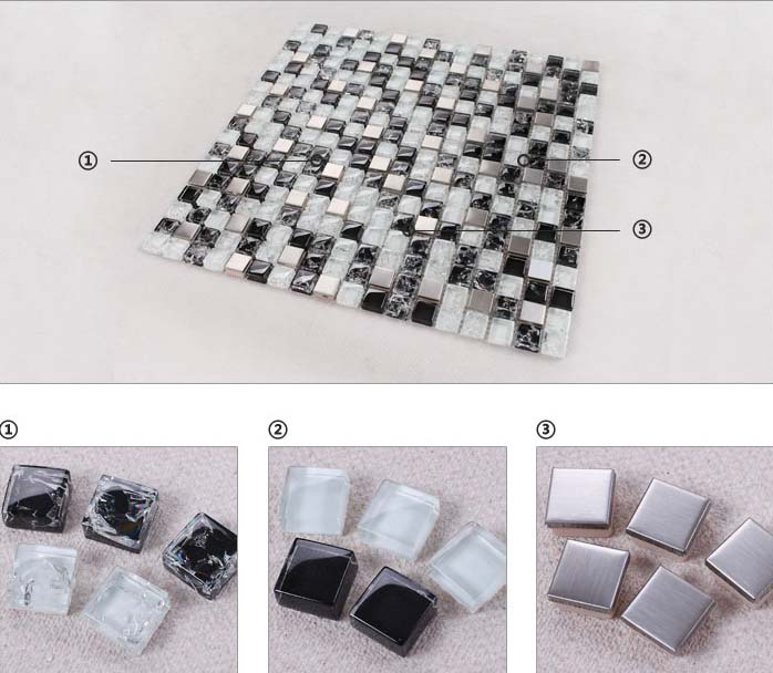 illustrations of features of crack glass tile stainless steel with porcelain base - ks33