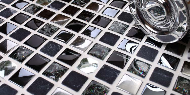 metal glass mosaic tile stainless steel with porcelain base