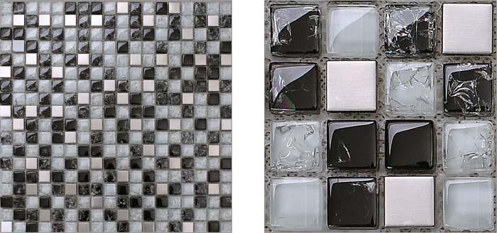 front side of the metal tile stainless steel crack glass blend - ks33