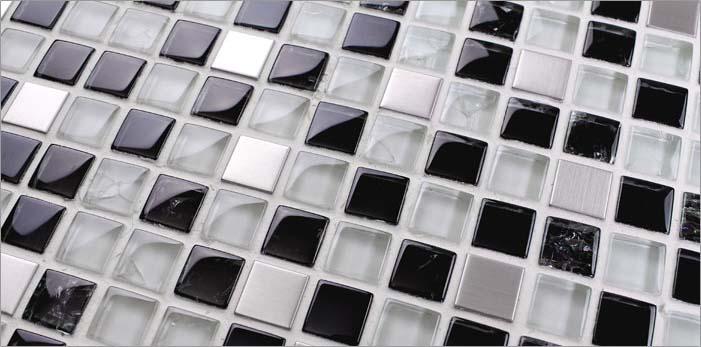 back of the metallic mosaic tile crack glass stainless steel - ks33