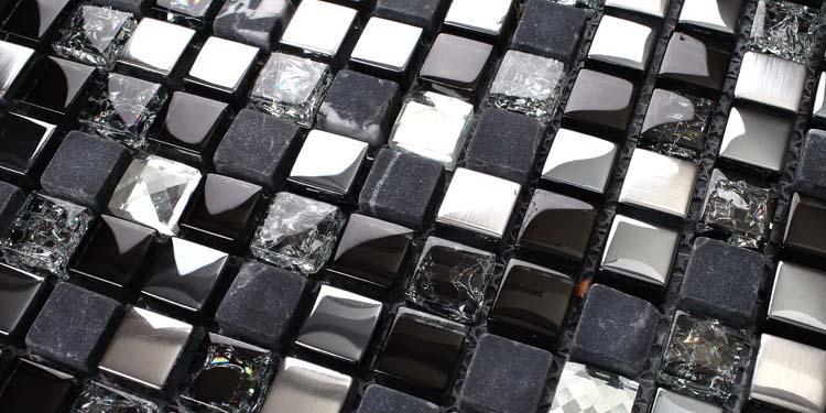 Whole Metal Tile Diamond Crystal Gl Backsplash Stone Mosa