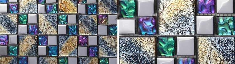 glass colorful plated iridescent tile - d1391