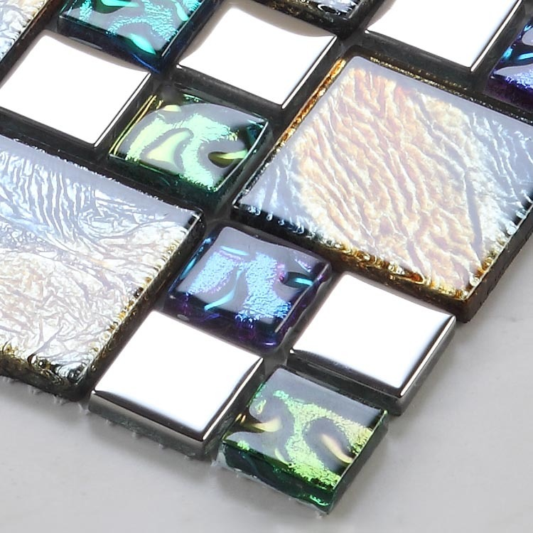 crystal glass tile pated vitreous mosaic wall tiles - D1391