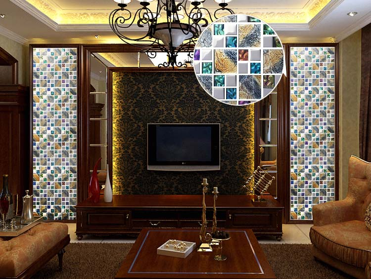 glass mosaic tile plated crystal backsplash dining room wall tiles - d1391
