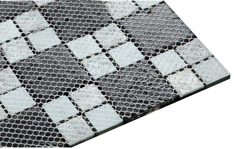 back of glass mosaic tile plated design mesh mounted - d1391