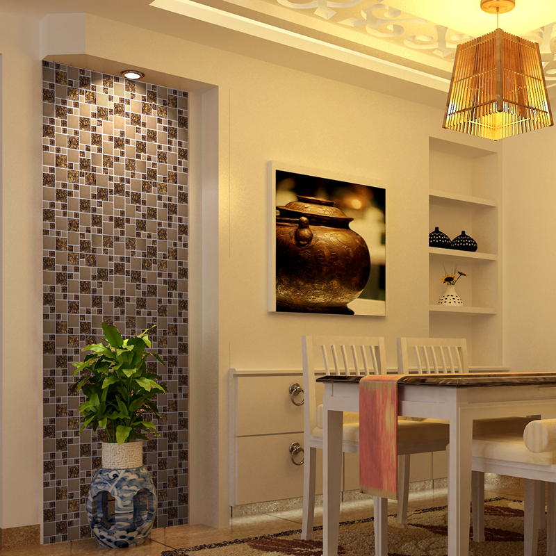 Wholesale Vitreous Mosaic Tile Backsplash Gold 304 Stainless Steel wit