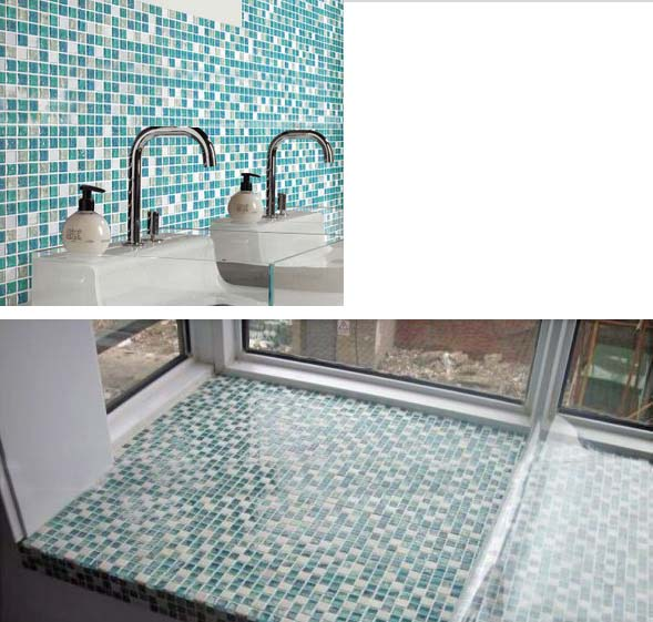 stone glass mosiac tiles washroom crackle floor - stbl001