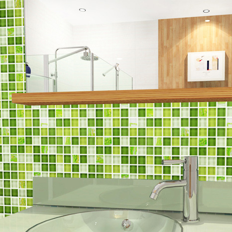 Glass Mosaic Tile Crystal Washroom Backsplash Green Wall Tiles Yf