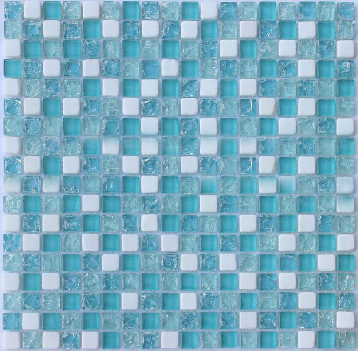 front side of the stone glass blend mosaic tile - stbl001