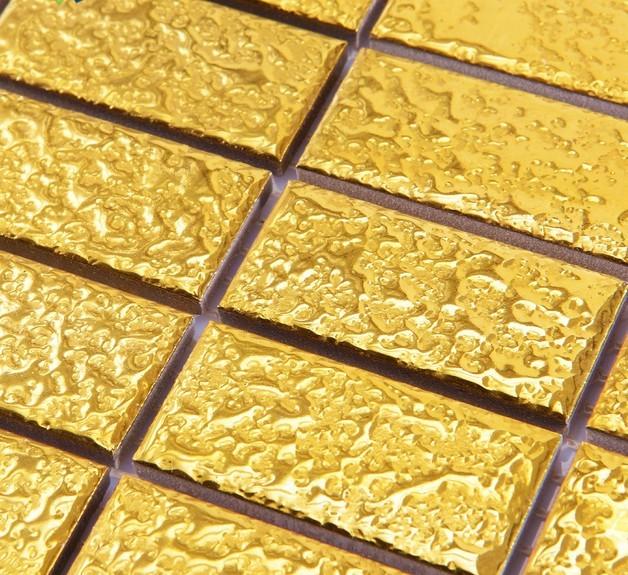 gold plated porcelain mosaic hall floor tile details - yf-mca34
