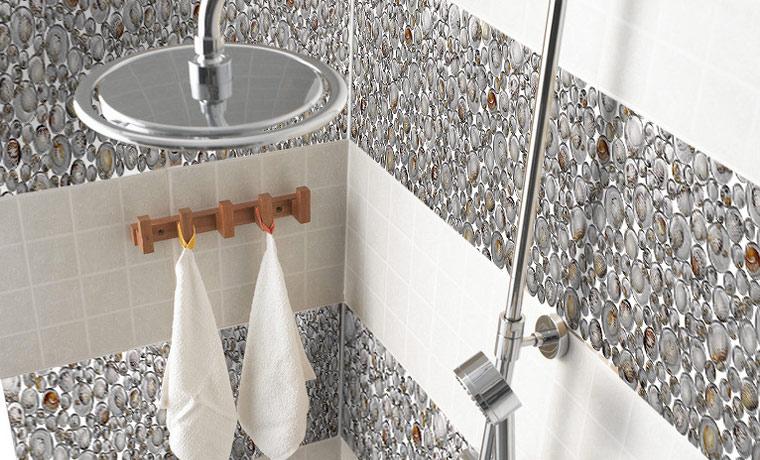 pebble glass mosaic tile crystal backsplash shower wall stickers - 619