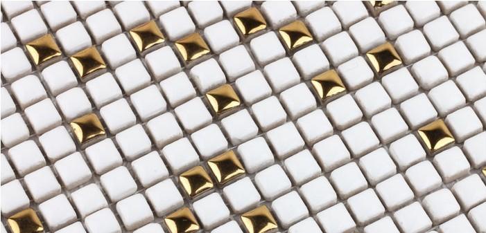 white glazeb plated mirror porcelain mosaic tile - hb-m178