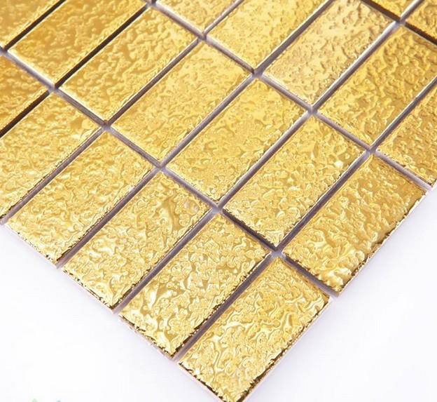 gold plated porcelain mosaic tile - yf-mca34