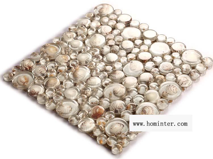 crystal pebble glass tile vitreous mosaic shell wall tiles - 619