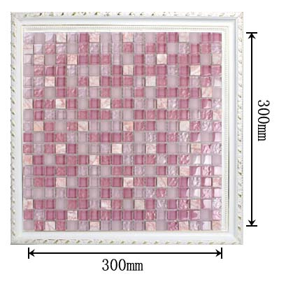 dimensions of pink mosaic glass tile - k1638