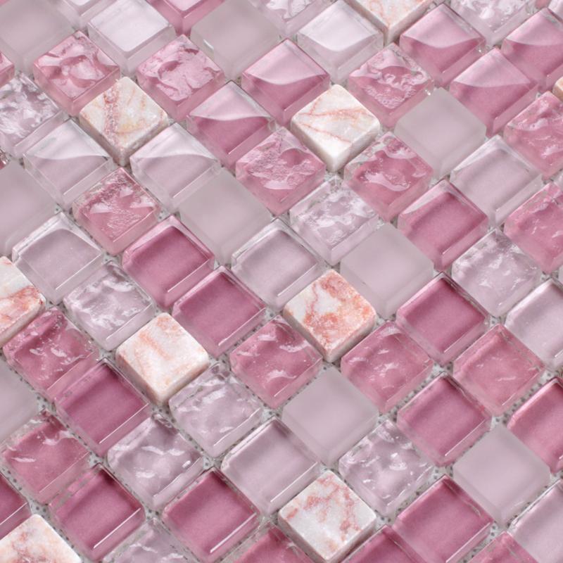 stone glass mosaic tile pink wall sticker -k1638