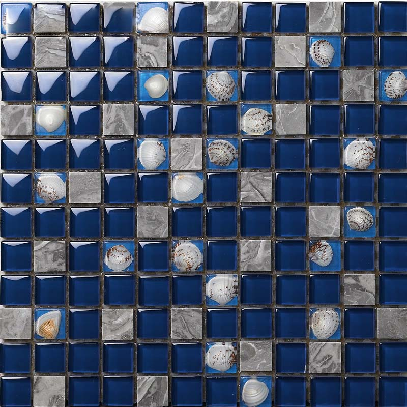 Wholesale Marble With Blue Crystal Shell Mosaic Tile Sheet