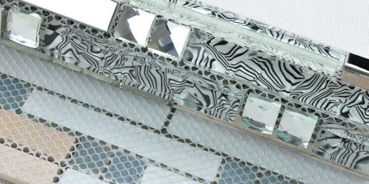 back of 304 stainless steel metal crystal glass moasic tiles diamond mesh mounted tiles sheet - tws052