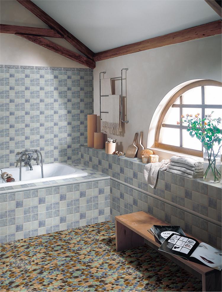 Pebble Porcelain Mosaic Tile Bathroom Floor Stickers 4789