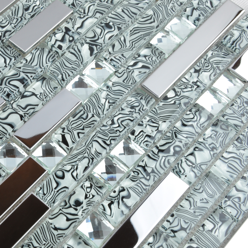 silver 304 stainless steel metal crystal glass moasic tiles diamond wall stickers tiles - tws052