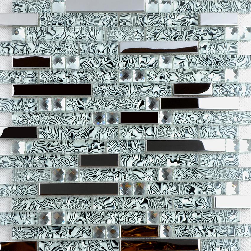 silver 304 stainless steel metal crystal glass mosaic tile diamond art wall tiles sheet - tws052