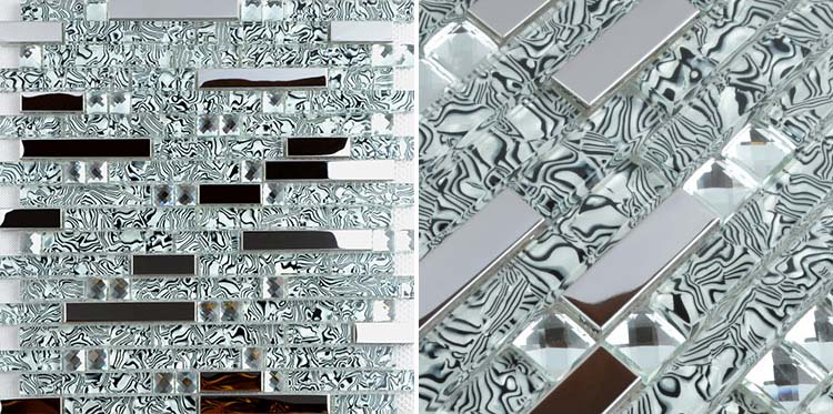 silver 304 stainless steel metal crystal glass moasic tiles diamond wall stickers sheet - tws052