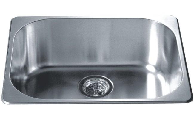 Top Mount Kitchen Sink 304 Stainless Steel 18/10 Chrome Nickel Single ...