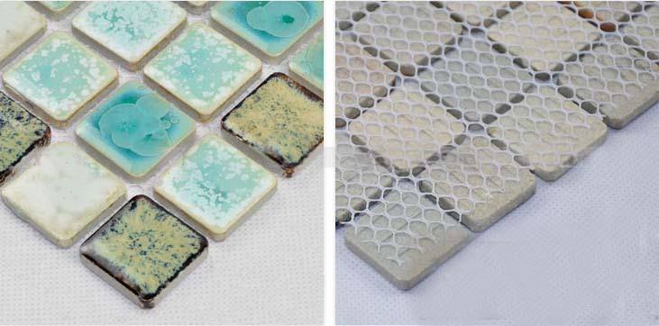 back of porcelain mosaic tiles wall backsplash stikcers mesh mounted - tc-2508tm