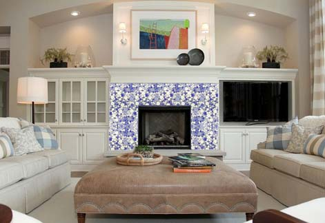 porcelain pebble tile for fireplace border wall sticker - ppt007