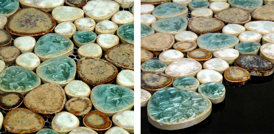 porcelain pebble tile shower wall sticker details - ppt009