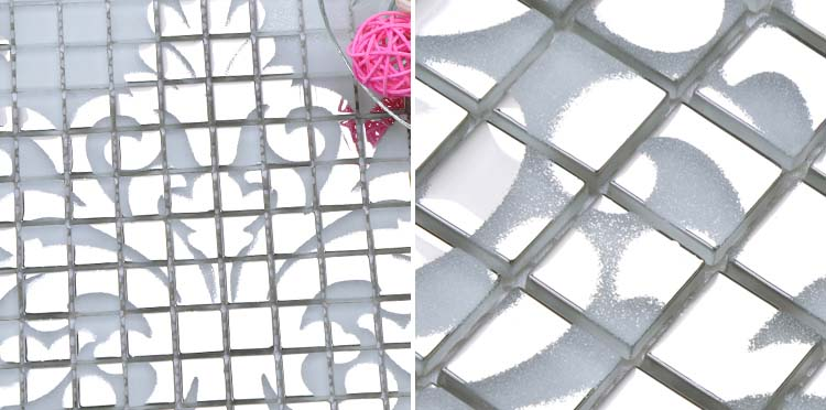 silver glass mosaic pattern design - h058
