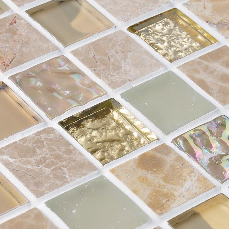 Mirror Tiles For Walls crystal glass mirror tile backsplash stone & glass blend mosaic