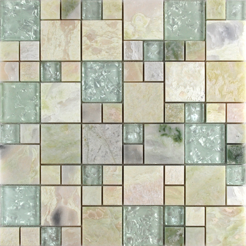 Stone With White Crystal Mosaic Tile