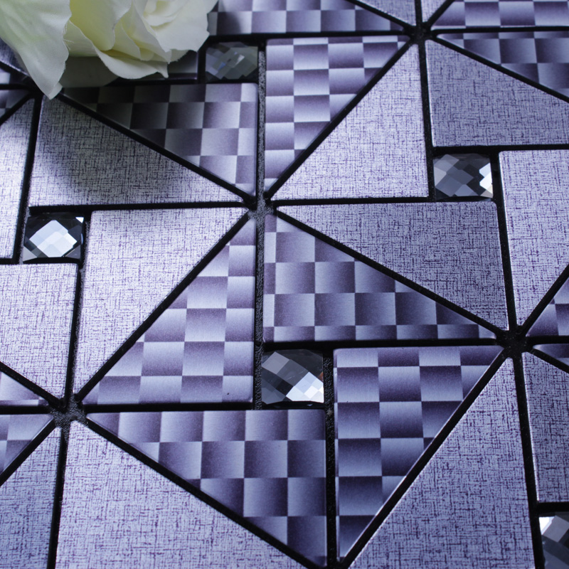 metallic mosaic tile details brushed aluminum stickers