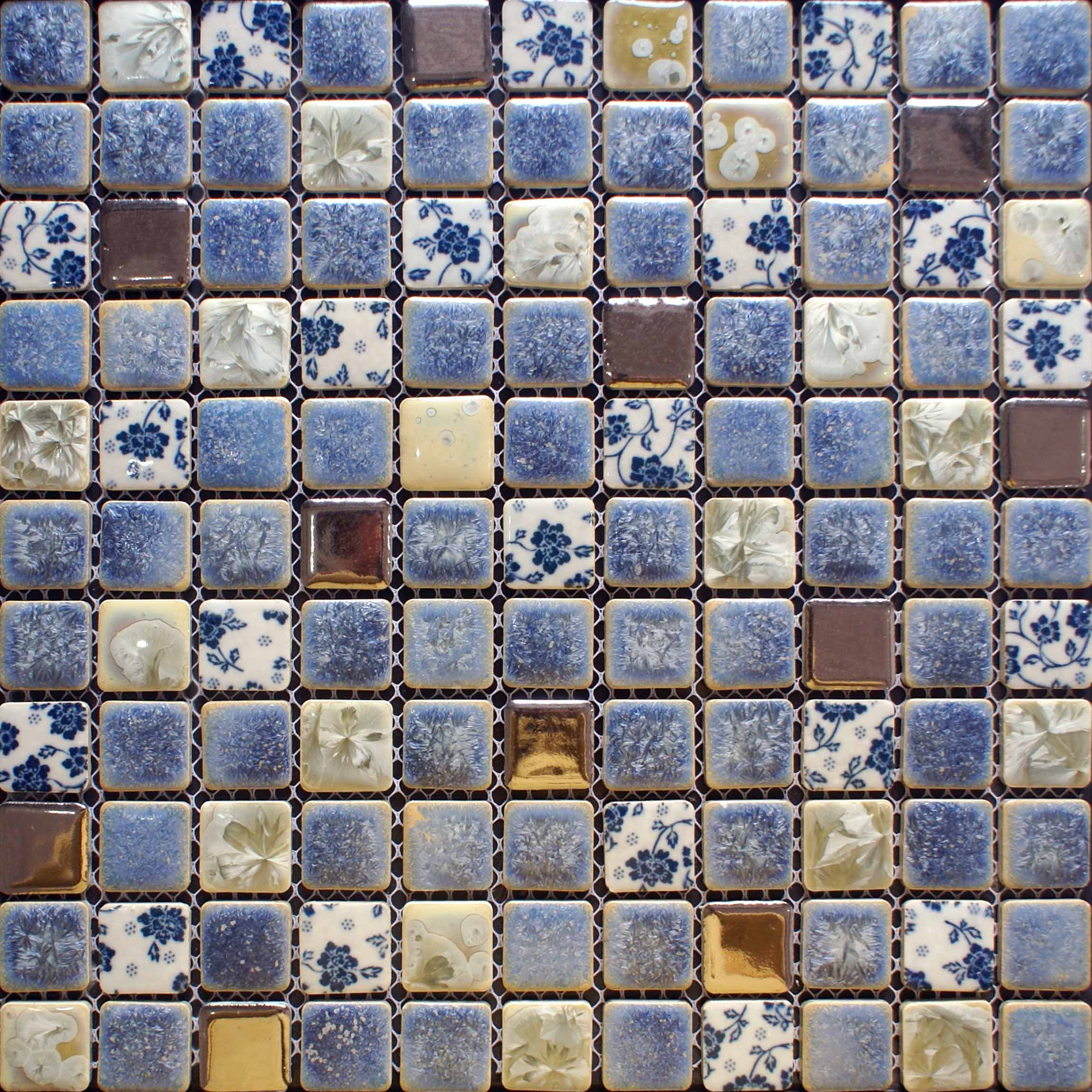 blue and whtie porcelain mosaic tile kitchen backsplash