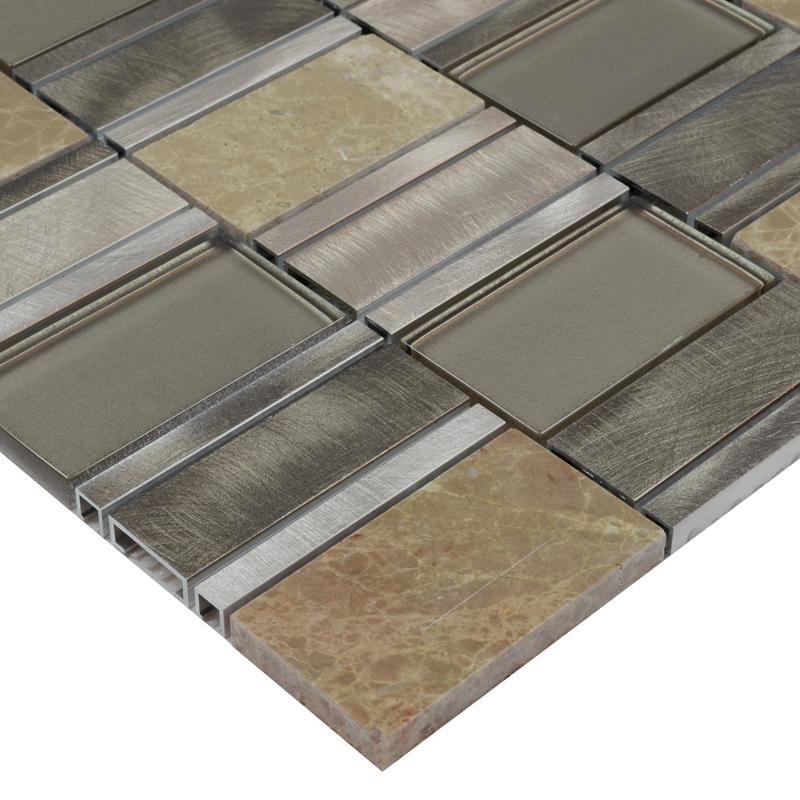 Metallic Wall Tiles >> Stone Glass Mosaic Tile Stainless Steel Metal Wall Tiles