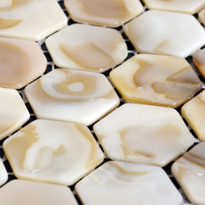 fresh water mother of pearl tile backsplash details